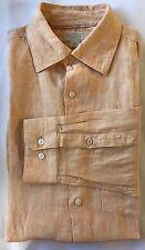 Banana Republic Men Dress Shirt Lrg Linen Natural Tan Long Sleeve Summer Tropic