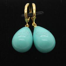 turquoise Shell Pearl Gemstones Earrings Huge 12X16Mm tear drop blue