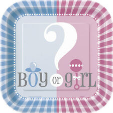 Baby Shower Party GENDER REVEAL OF BOY OR GIRL DESSERT CAKE PLATES