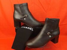 16A NIB CHANEL BROWN LEATHER BELTED GOLD BUCKLE CC LOGO ANKLE BOOTS 39 $1200