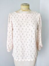 Lauren Conrad blush pink green owl print silky poly blouse top roll sleeves XS