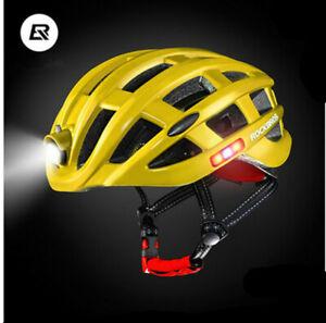 ROCKBROS Cycling Road Bike MTB Helmet Ultralight With Light USB Recharge 49-59cm
