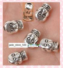40Pcs Tibet silver skull beads charm bracelet beads 8x6mm