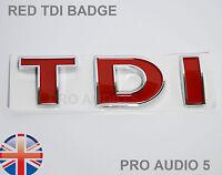 RED TDI BOOT BADGE - TURBO DIESEL - CAR VAN UK Golf Polo Bora Passat T4 MK4 MK5