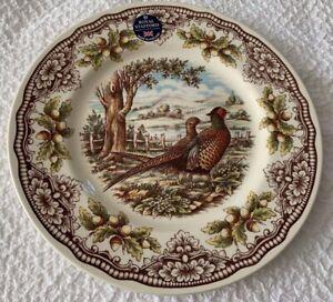 "Royal Stafford 11"" round Fall  Pheasants dinner plate cream/ brown/green NWT"
