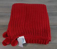 "NEW Cable Knit Red POM POM THROW 50""x60"" Super SOFT Blanket Peking Handicraft!"