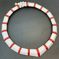 VINTAGE NECKLACE RED WHITE BEADS COLLAR STYLE BEADED RETRO COSTUME JEWELRY