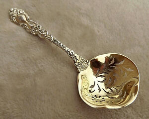 """Imperial Chrysanthemum by Gorham 5 1/2"""" Sterling sifter ladle mono Rare form"""