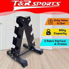 Vertical Dumbbell Dumbbells Storage Rack Stand 3-Pair Home Gym Weight Equipment*