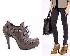 PEDRO GARCIA SHOES CHANNER LACE UP BOOTIES PUMP HEELS GRAY LEATHER BROUGES $485