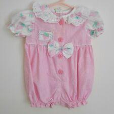 Vintage Baby Girl Pink Seersucker Bubble Romper Size 3-6 Months Vguc Bow Eyelet