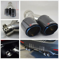One 63-89mm Gloss Real Carbon Fiber Car Left Side Exhaust Dual Pipe Tail Muffler