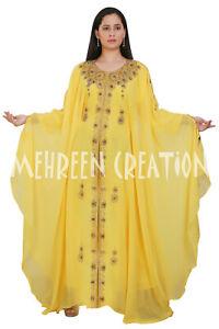 Dubai Arabic Kaftan New Moroccan Islamic Bell Sleeve Modern Wedding Gown Wear