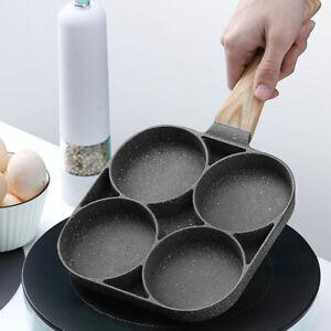 4 Hole Omelet Pan Burger Egg Ham Pancake Maker Bakelite Frying Pan Poached Egg