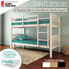 Solid Pine Timber Bunk Bed Frame Children Wooden Kids Bedroom Furniture Single