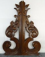 "Pair of French Antique Walnut Wood Corbels/ Brackets Salvage - 13"" Tall"