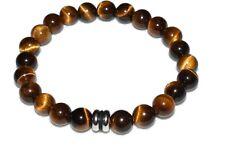 Gold Tiger Eye Bracelet Natural Stones Quartz Crystal Energy Balance Unisex