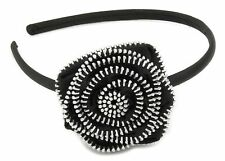 Zest Alice Band with Zip Detail Flower Hair Accessory Black & Silver