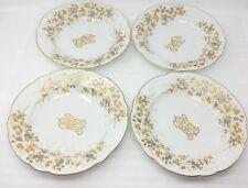 "(4) Carl Knoll Carlsbad 9-5/8"" Soup Plate Bowl Gold Trim Monogram"