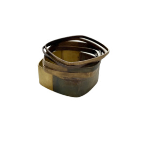 We Dream In Colour Set of 5 Oxidized Geometric Brass Bangles