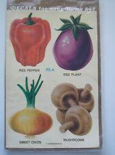 Vtg 78 Meyercord Decals Water Veggies Red Pepper Egg Plant Onion Mushroom Tole