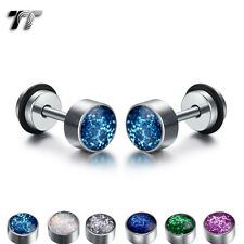 TT Clear Epoxy Colorful Surgical Steel Round Fake Ear Plug Earrings (BE190) NEW