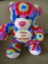 "King's Dominion Amusement Park Souvenir 10"" Plush Bear Peace,Love Tummy-Tie Dye"