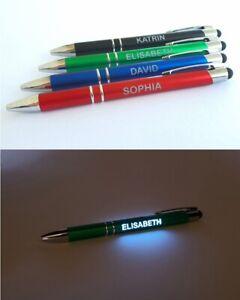 LED LICHT Kugelschreiber mit Ihrer Wunschgravur Name - Text- Logo - Bunte Farben