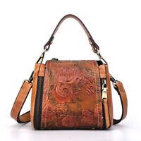 Women's Vintage Embossed Genuine Leather Messenger Shoulder Bags Cowhide Handbag