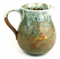 Artisan Pottery Handcrafted Drip Glaze Stoneware Pitcher Teal Copper and Bronze