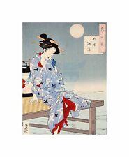 Cultural abstracto Japón Geisha chikanobu Luna Imagen Lienzo de Impresión