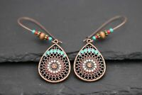 Vintage Ethno Hippie Design türkis Ohrringe Ohrhänger Silber Kupfe plattiert neu