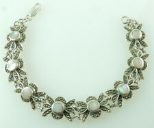 Bracelet with Marcasite and Pink Mother of Pearl Sterling Silver