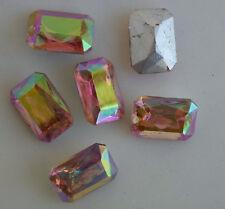6 Vintage Glass Rhinestones Octagon Pink AB TTC Foiled 18x13mm J1-5B