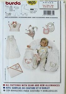 Burda 9635 Baby Bibs Blanket Sack Pillow Toys Doll Sewing Pattern Sz 3M-18M