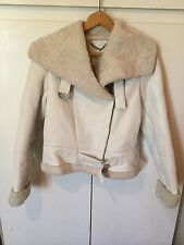 Rare Designer FOSSIL Lambskin Shearling Aviator Jacket- Fits Uk 10- Cost £500