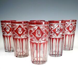 Early Glass Ruby Hand Cut-to-Clear Set of 6 Tall Tumblers ~ Beautiful