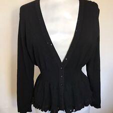 Ann Klein  Cardigan  M Sequin Style Korean Slim Wave Hem Black Long Sleeve BNWT