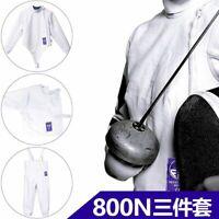 Fencing Jacket Pants Underplastron Set Strength Cotton FIE 800NW 3-piece Suits