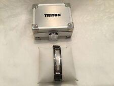 Triton Men's Black/Grey Stainless Steel .33ctw Genuine Diamond Bracelet with Box