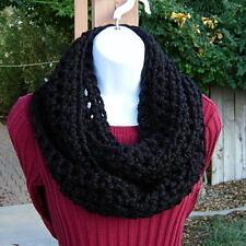 Solid Black INFINITY LOOP SCARF Handmade Crochet Wool Acrylic Winter Circle Cowl