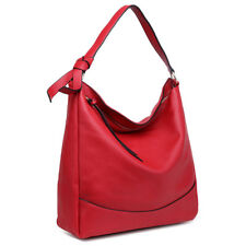Ladies DESIGNER Soft PU Leather Hobo Handbag Satchel Shoulder Tote Bag Red