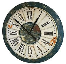 style ancienne grande geante horloge de gare loft usine industriel en fer 86cm
