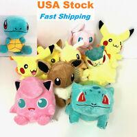 Pokemon Pikachu Jigglypuff Bulbasaur Mew Eevee Plush Stuffed Doll Toy Kids 6-9''
