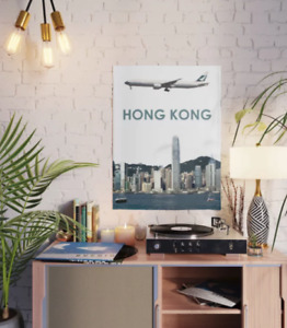 """Cathay Pacific Boeing 777 over Hong Kong Art - 18"""" x 24"""" Poster"""