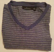 Marc Anthony Shirt Mens Size M  Blue & White Striped V-neck Short Sleeve