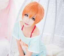 Japanese Anime Love Live Rin Hoshizora Orange Short Wigs Hairpieces Cosplay Wig