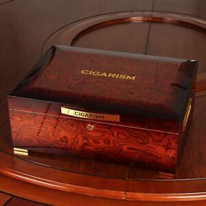 CIGARISM Piano Finish Bulbous Rosewood Grain Cedar Cigar Humidor 200 Count