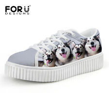 Dog Printed Students Creepers Shoes Casual Sneaker Women Increased Shoes Stylish