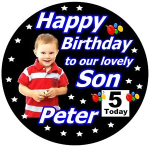 PERSONALISED SON / HAPPY BIRTHDAY BADGE / WITH PHOTO, NAME, AGE / NEW / GIFTS
